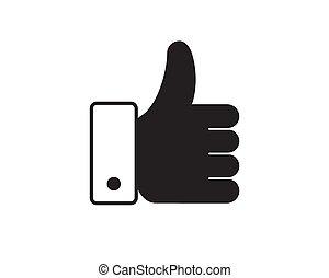 bouton, vecteur, aimer, main, icône