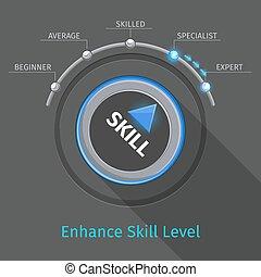 bouton, vecteur, bouton, commutateur, niveaux, compétence, ou