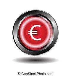 bouton, vecteur, euro