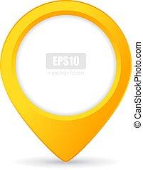 bouton, vecteur, indicateur, emplacement, jaune