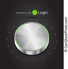 bouton, vecteur, login, air, page