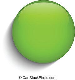 bouton, verre, arrière-plan vert, cercle blanc