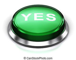 bouton, vert, oui, rond