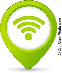 bouton, wifi, gratuite, épingle