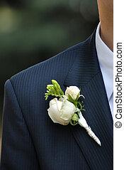 boutonnière, rose, équipe, suite, mariage