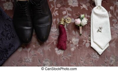 boutonniere, clã©, accessoires, salle, cufflinks., groom's, cravate, mariage