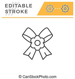 Boutonniere editable stroke line icon isolated on white....