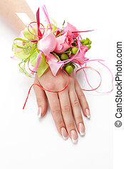 boutonniere of pink roses on the wrist on a white background