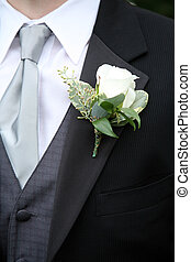 Boutonniere on Suit - A Boutonniere on a Suit of a man