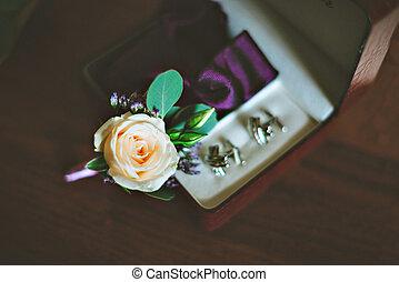boutonniere, trouwfeest, bloemen, ringen, vastknopen, tafel