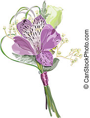 Boutonniere with Alstroemeria and Eustoma. Vector...