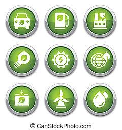 boutons, écologie, vert