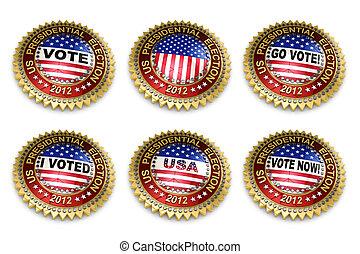 boutons, élection, présidentiel, 2012