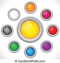 boutons, 9, ensemble, lustré, coloré