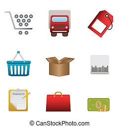 boutons, achats, éléments, conception