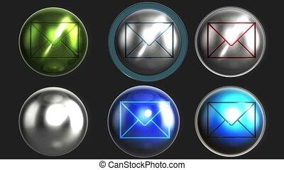 boutons, alpha, brillant, lettre, boucle
