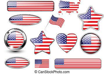 boutons, américain, nord, drapeau, usa