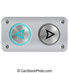 boutons, appeler, ascenseur