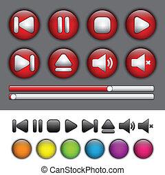 boutons, application, média, symboles, joueur, rond