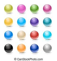 boutons, blanc, ensemble, balle