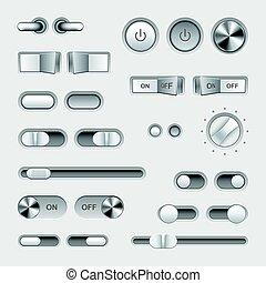 boutons, cabillot, vecteur, ensemble, commutateur