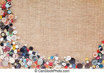 boutons, cadre, fond, tissu, texture