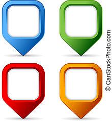boutons, carrée, épingle