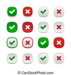 boutons, carrée, arrondi, validation