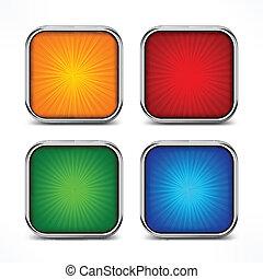 boutons, carrée, coloré