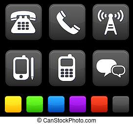boutons, carrée, technologie, icônes internet