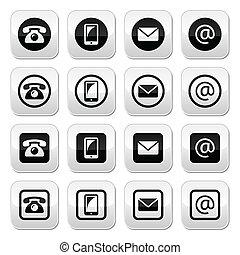 boutons, cercle, contact, squar