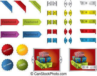 boutons, conception toile, rubans