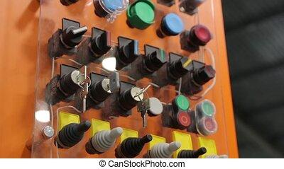 boutons, contrôle, industriel, clés