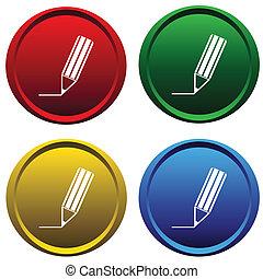 boutons, crayon, plastique