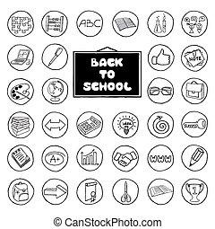 boutons, dessiné, école, ensemble, main