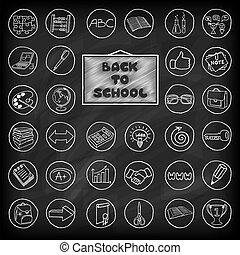 boutons, dessiné, école, set., main