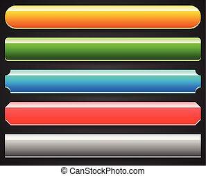 boutons, différent, ensemble, sur, noir, bannières, toile de fond