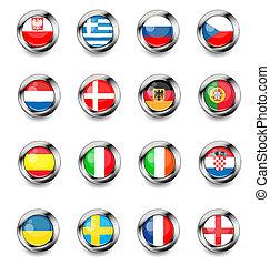 boutons, drapeau, europan