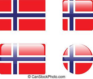 boutons, drapeau, norvège, &