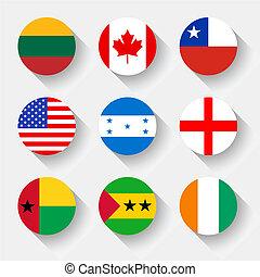 boutons, drapeaux, rond, mondiale