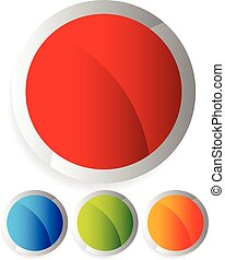 boutons, elements., badges., coloré, clair, vecteur, conception, cercle, vide