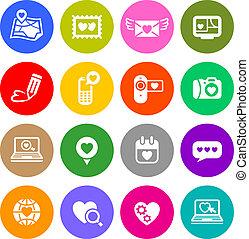 boutons, ensemble, amour, valentine, internet, signes, jour