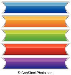 boutons, ensemble, coloré, bannières, plaques, ou