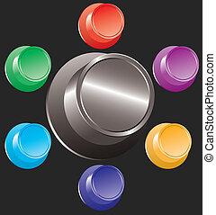 boutons, ensemble, coloré