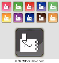 boutons, ensemble, coloré, signe., cahier, site., onze, vecteur, ton, icône