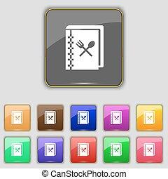 boutons, ensemble, coloré, signe., ton, site., onze, vecteur, cuisinier, livre, icône