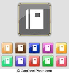 boutons, ensemble, coloré, signe., ton, site., onze, vecteur, livre, icône