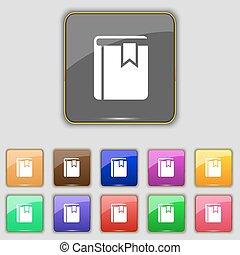 boutons, ensemble, coloré, signet, signe., ton, site., onze, vecteur, livre, icône
