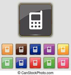 boutons, ensemble, coloré, téléphone, mobile, signe., site., onze, vecteur, ton, icône