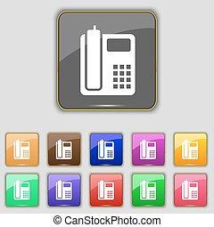 boutons, ensemble, coloré, téléphone, signe., site., onze, vecteur, maison, ton, icône